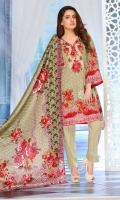 4 PCS Printed Ladies Suit (100% Cotton Fabric) 3 Meters Shirt + sleeves 2.5 Meter Dupatta 2.5 Meter Trouser Shirt: Lawn Dupatta: Lawn Trouser: Lawn
