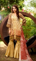 Lawn Printed Front Printed Back & Sleeves Embroidered Bamber Chiffon Dupatta Dyed Trouser