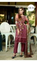 Swiss Chekan Kari Embroidered Front  Printed Back & Sleeves  Embroidered Chiffon Dupatta  Dyed Trouser