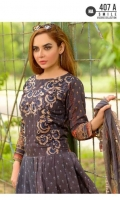 Embroidered Shirt Front  Printed Back & Sleeves  Embroidered Bamber Chiffon Dupatta  Dyed Trouser
