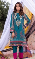 Digitally Printed Lawn Shirt Dyed Lawn Trouser Embroidered Neckline