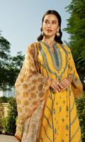 Embroidered slub khaddar front Embroidered slub khaddar sleeves Embroidered lace Dyed slub khaddar back Dyed slub khaddar trouser Printed munar cotton silk dupatta