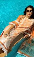 Embroidered silk karandi front Dyed silk karandi back Dyed silk karandi sleeves Dyed silk karandi trouser Printed polynet dupatta