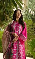 Embroidered slub khaddar front Dyed slub khaddar back Dyed slub khaddar sleeves Embroidered lace for sleeves Dyed slub khaddar trouser Printed munar cotton silk dupatta