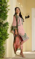 Embroidered slub khaddar front Dyed slub khaddar sleeves Dyed slub khaddar back Embroidered lace Dyed slub khaddar trouser Printed munar cotton silk dupatta