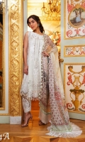Embroidered Cotton Net Front  Embroidered Net Side Panels  Embroidered Sleeves Patch Embroidered Border Patch  Embroidered Neckline Patch  Dyed Cotton Net Back And Sleeves Printed Silk Dupatta  Dyed Viscose Trouser