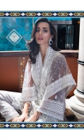 Embroidered net front  Embroidered neck patti  Embroidered border  Embroidered net dupatta  Embroidered net sleeve  Dyed Cotton net back  Dyed viscose trouser Note: • Laces used in the trouser are not included in the pack