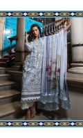 Embroidered cotton net front panel  Embroidered net side panel  Embroidered neckline  Embroidered border  Embroidered trouser patch  Dyed cotton net back  Printed silk dupatta  Dyed viscose trouser Note: • Laces are used in the border and it's not the included in the pack