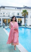 Embroidered Front Dyed Back Dyed Sleeves Dyed Trouser Embroidered Cotton Net Dupatta