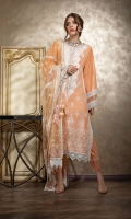 Embroidered Front Embroidered Neckline Patch Digital Print Back Dyed Sleeves Dyed Trouser Embroidered Net Dupatta