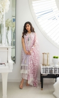 Jacquard Front Centre Panel Embroidered Side Panel (2 pieces) Jacquard Dyed Back Jacquard Dyed Sleeves Embroidered Neckline Patch Embroidered Border Hem Patch Dyed Trouser Embroidered Trouser Patch Embroidered Net Dupatta