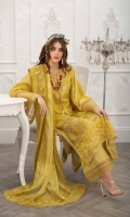 Embroidered Front Embroidered Neckline Patch Embroidered Border Hem Patch Digital Print Back Dyed Sleeves Dyed Trouser Embroidered Cotton Net Dupatta Dupatta Border Patches (4 sides)