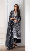 Paste Print Front  Paste Print Back  Paste Print Sleeves  Embroidered Neckline Patch  Plain Dyed Trouser  Embroidered Organza Dupatta