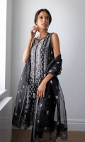 Jacquard Dyed Front  Jacquard Dyed Back  Jacquard Dyed Sleeves  Embroidered Neckline Patch  Plain Dyed Trouser  Embroidered Organza Dupatta