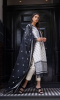 Jacquard Dyed Front  Jacquard Dyed Back  Jacquard Dyed Sleeves  Embroidered Neckline Patch  Plain Dyed Trouser  Embroidered Cotton Net Dupatta