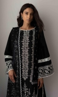 Embroidered Front Panel  Embroidered Side Panels  Embroidered Border  Embroidered Sleeves  Plain Dyed Back  Plain Dyed Trouser  Chiffon Printed Dupatta