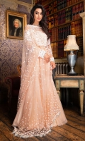 -Sequins embellished net front -Sequins embellished net dupatta -Sequins embellished net dupatta lengths -Sequins embellished net sleeve -Plain dyed cotton net back -Plain dyed net for gharara Note: Hangings and inner lining fabric is not included.