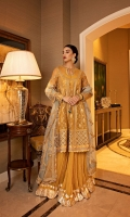 Embroidered Organza Front And Back Panels Embroidered Organza Neckline Embroidered Organza Sleeves Embroidered Front Border Embroidered Back Border Dyed Crinkle Chiffon Sharara Embroidered Net Dupatta With Borders