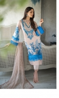 Digital Print Front Digital Print Back Digital Print Sleeves Embroidered Neckline patch Dyed Trousers Embroidered Chiffon Dupatta