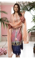 Digital Print Front Digital Print Back Digital Print Sleeves Embroidered Neckline patch Dyed Trouser Embroidered Chiffon Dupatta