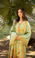 Embroidered Cottel Front Embroidered Cottel Sleeves Dyed Cottel Back Dyed Cottel Trouser Printed Twill Wool Shawl