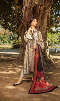Embroidered Cottel Front Embroidered Cottel Sleeves Embroidered Patti Dyed Cottel Back Dyed Cottel Trouser Printed Twill Wool Shawl