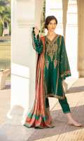 Embroidered Khaddar Front Panel Embroidered Khaddar 2 Side Panels Embroidered Khaddar Sleeves Embroidered Patti Dyed Khaddar Back Dyed Khaddar Trouser Printed Twill Wool Shawl