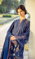 Embroidered Khaddar Front Panel Embroidered Khaddar Side Panels Embroidered Border Dyed Khaddar Sleeves Dyed Khaddar Back Dyed Khaddar Trouser Printed Twill Wool Shawl
