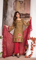 Embroidered Chiffon Front : 0.85 Meter Embroidered Front/Back Lace : 1.5 Meters Embroidered Sleeves : 2pcs Embroidered chiffon Dupatta : 2.5 Meters Raw Silk Trouser : 2.5 Meters