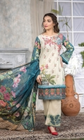 Embroidered  Printed Lawn shirt : 3 Mtrs  Daman Patch : 1 pc  Trouser Patch : 2 pc  Chiffon printed dupatta : 2.5 Yards  Cotton Trouser : 2.5 Yards