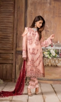 Embroidered Chiffon Front : 1 Yard Embroidered Chiffon Back : 1 Yard Embroidered Chiffon Duptta : 2.5 Yards Embroidered Sleeves : 0.7 yard Embroidered Laces : 2 Yards Raw Silk Trouser : 2.5 Yards