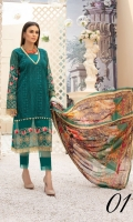 Embroidered Swiss Embroidered Chiffon Dupata Plain Trouser