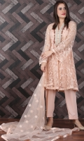 Embroidered Zari Net Stitched 3 Piece Suit