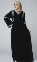 Formal Crepe Stitched Abaya Tahtian Pearl Black