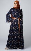 Formal Polyester Stitched Abaya Flowery Garden Navy
