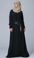 Formal Crepe Stitched Abaya Chess Black Black
