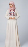 Formal Irish Stitched Abaya Morganite Beige