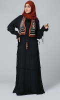 Formal Crepe Stitched Abaya Ornate Black