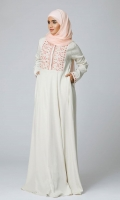 Formal Polyester Stitched Abaya Peony Cream