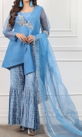 Short Shirt with Hand Embroidered Bunch , Garara Style Screen Printing Trouser Organza Duppta With 4 Side Finishing Lace and Mirror Work
