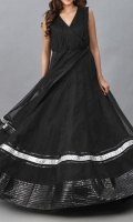 Black Organza Evening Gown Pleated Bodice with Leather Borders and Detailing Straight Silk Skirt and a Belt