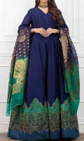 Royal Blue Evening Gown Pleated Bodice , Printed with Moti Work Border and Detailing