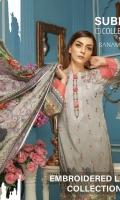 2.5 Meters Digital Printed and Embroidered Lawn Shirt 0.5 Meter Printed Sleeves 2.5 Meters Plain Trouser 2.5 Meters Printed Chiffon Dupatta