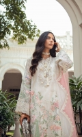 PURE ORGANZA SHIRT WITH DETAILED FLORAL EMBROIDERY AND EMBELLISHMENT AROUND THE NECKLINE, SLEEVES AND BORDER RAW SILK SLIP NET DUPATTA WITH DETAILED BORDER AND ORGANZA FINISH RAW SILK PANTS