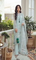 SERENE BLUE NET SHIRT WITH FLORAL AND SCENIC EMBROIDERY ADORNED WITH PEARLS, CRYSTAL AND SWAROVSKI. RAW SILK SLIP ORGANZA PRINTED DUPATTA WITH ELABORATE HAND WORK AND BLOCK PRINT. RAW SILK TAPERED PANTS
