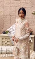 BLUSH PINK EMBROIDERED AND HAND EMBELLISHED NET SHIRT WITH SYMMETRIC FLORAL PATTERNS RAW SILK SLIP PRINTED DUPATTA WITH CHATTA PATTI CRISS CROSS DETAILS AND EMBROIDERED BORDER PRINTED RAW SILK BOOT STRAIGHT PANTS