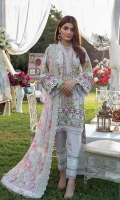 Shirt: Digital Printed Cotton Satin Dupatta: Digital Printed Lawn Trouser: Dyed Cotton  Embroidery Details: Embroidered Daman Border for Front Embroidered Chikan Kari Dupatta Embroidered Border for Sleeves Embroidered Trouser
