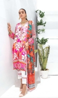 Shirt: Digital Printed Cotton Satin Dupatta: Digital Printed Lawn Trouser: Dyed Cotton