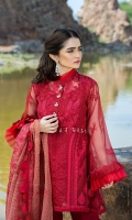 Dupatta:    Organza Check, 2.5 Meters Shirt Front:   1.25 Meter, Embroidered Shirt Back:    1.75 Meter