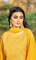 Dupatta:    Crinkle Embroidered, 2.5 Meters Shirt Front:   1.15 Meter, Embroidered Shirt Back:    1.75 Meter    Trouser:          2.5 Meters
